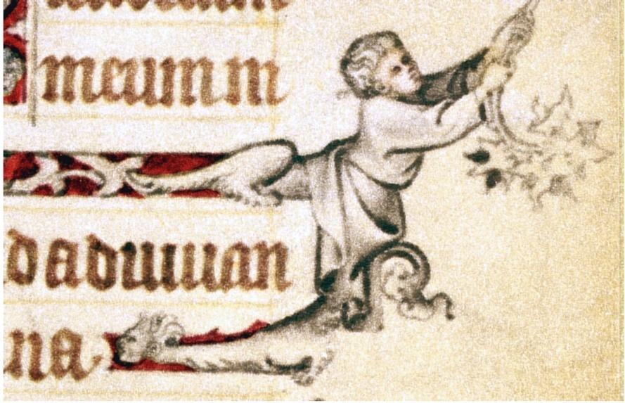 Extrait du Livre d'Heures de Jeanne d'Évreux, 1324-28, Jean Pucelle, MET à NY (la réglure est encore visible)